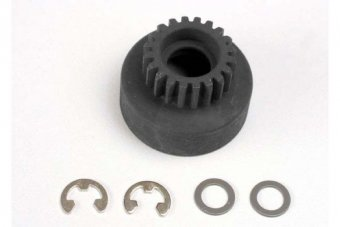 Clutch bell, (20-tooth)/ 5x8x0.5mm fiber washer (2)/ 5mm E-clip (requires #4611-ball bearings, 5x11x