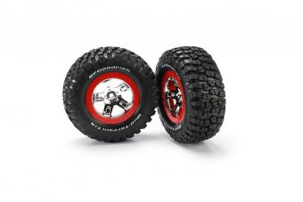 Tires & wheels, assembled, glued (SCT chrome, red beadlock style wheels, BFGoodrich® Mud-Terrain