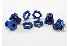 Wheel hubs, splined, 17mm (blue-anodized) (4)/ wheel nuts, splined, 17mm (blue-anodized) (4)/ screw