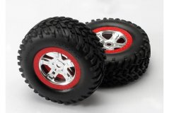 Tires & wheels, assembled, glued (SCT, satin chrome, red beadlock wheels (dual profile 2.2'