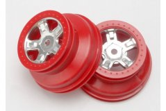 Wheels, SCT satin chrome, red beadlock style, dual profile (1.8'' inner, 1.4'' o