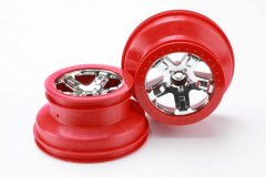 "Wheels, SCT chrome, red beadlock style, dual profile (2.2"" outer, 3.0"" inner) (2WD front) (2)"