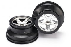 "Wheels, SCT satin chrome, black beadlock style, dual profile (2.2"" outer, 3.0"" inner) (2WD front) (2"