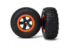 Tires & wheels, assembled, glued (SCT black, orange beadlock wheels, SCT off-road racing tire, f