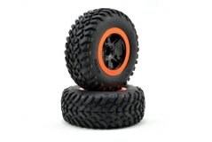 Tire & wheel assy, glued (SCT black, orange beadlock wheels, SCT off-road racing tires, foam ins