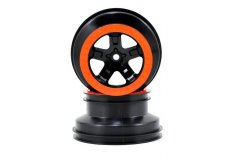 Wheels, SCT black, orange beadlock style, dual profile (2.2'' outer 3.0'' inner)