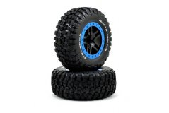 Tire & wheel assy, glued (SCT Split-Spoke, black, blue beadlock wheels, BFGoodrich® Mud-Terrain™