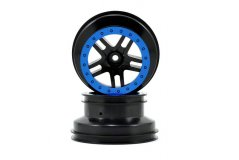 Wheels, SCT Split-Spoke, black, blue beadlock style, dual profile (2.2'' outer 3.0'&#