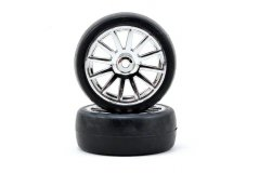 Tires & wheels, assembled, glued (12-spoke chrome wheels, slick tires) (2)