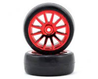 Tires & wheels, assembled, glued (12-spoke red chrome wheels, slick tires) (2)