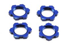 Wheel nuts, splined, 17mm, serrated (blue-anodized) (4)